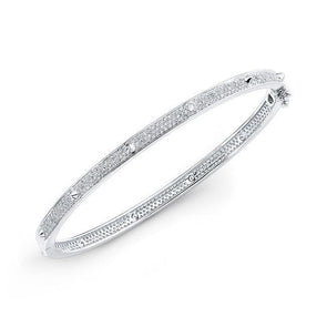 14KT White Gold Diamond Spike Bangle