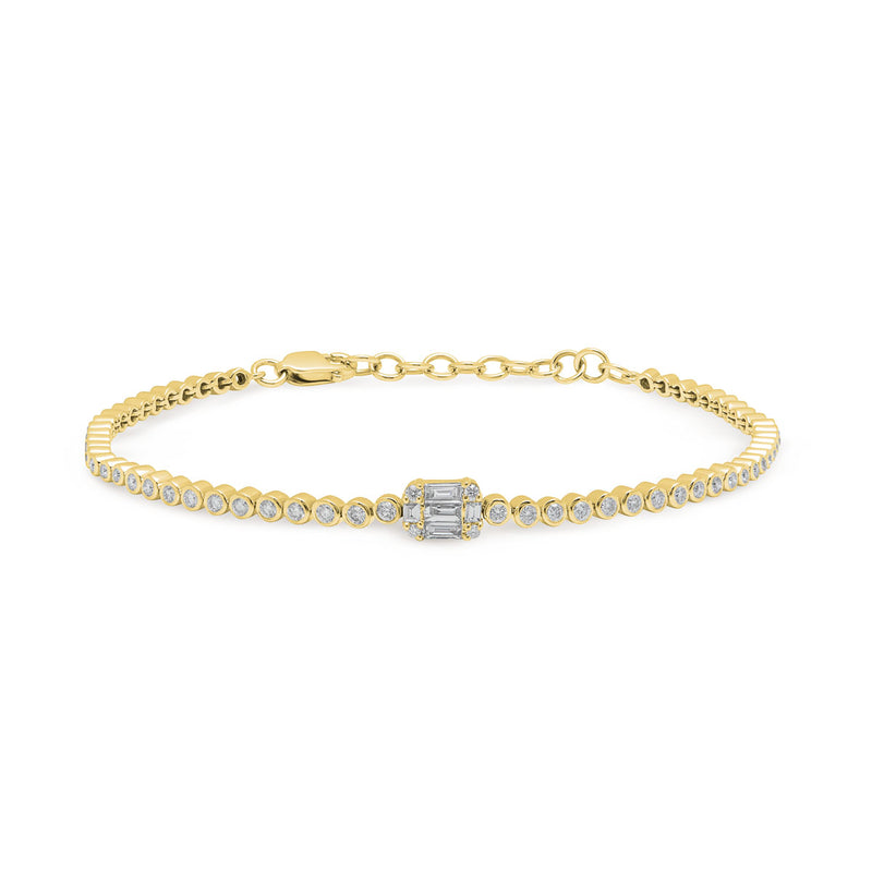 14KT Yellow Gold Baguette Diamond Colette Bracelet