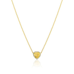 18KT Yellow Gold Citrine Diamond Amour Necklace