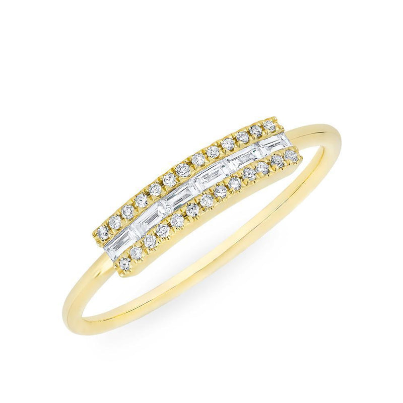 14KT Yellow Gold Diamond Baguette Curved Bar Delilah Ring