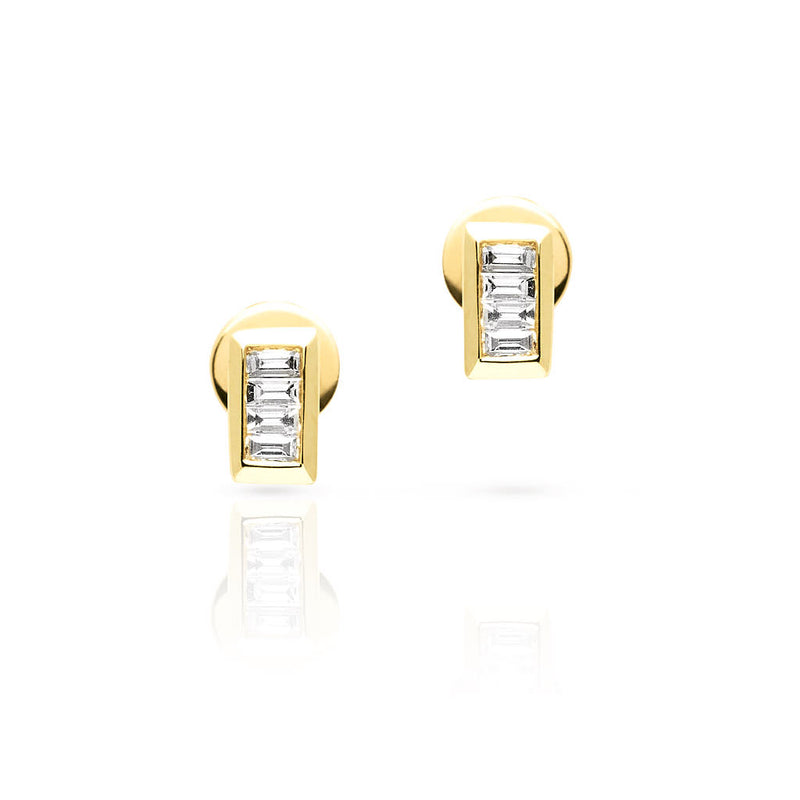 14KT Yellow Gold Baguette Diamond Gabriella Stud Earrings