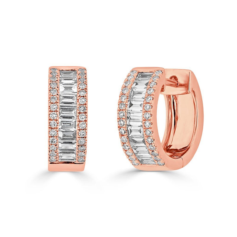 14KT Rose Gold Baguette Diamond Elle Huggie Earrings