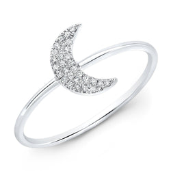 14KT White Gold Diamond Moon Ring