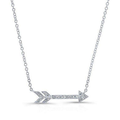 14KT White Gold Diamond Arrow Necklace
