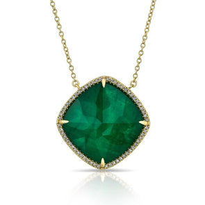 14KT Yellow Gold Diamond Emerald Triplet Laguna Necklace