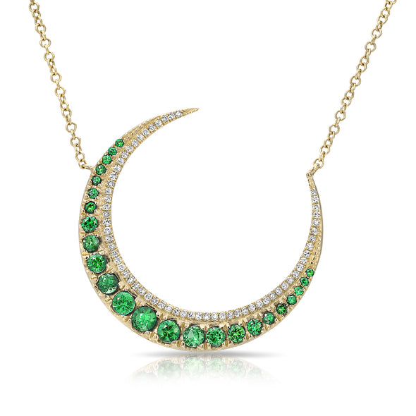 14KT Yellow Gold Emerald Lunar Diamond Necklace