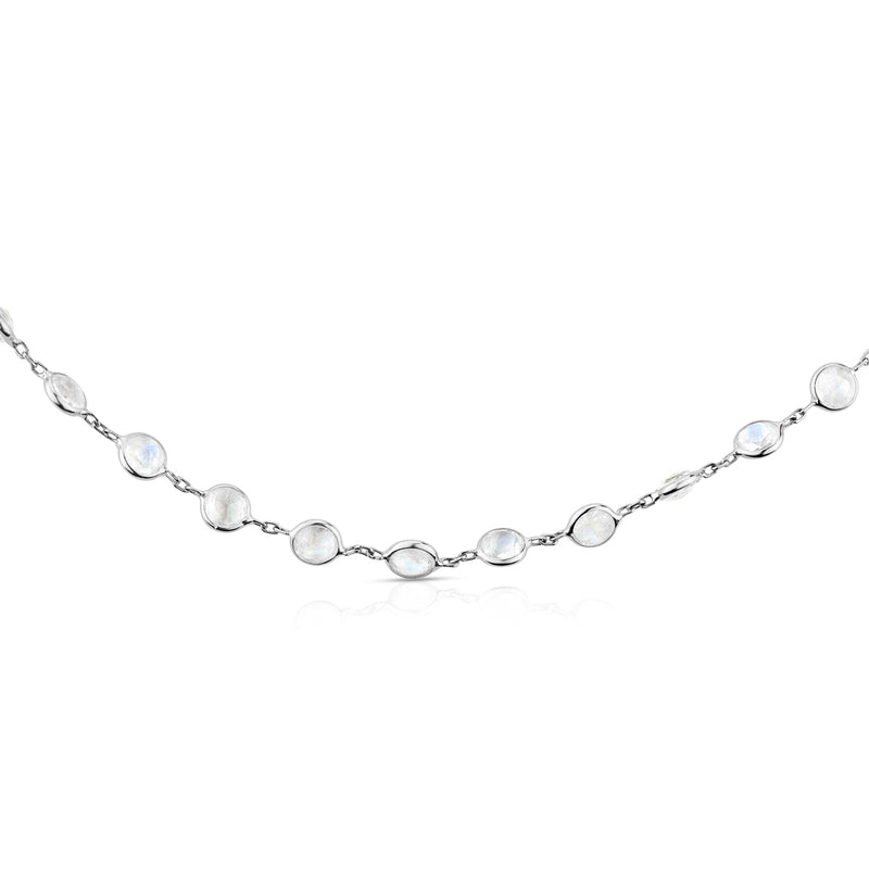 "14KT White Gold Moonstone 36"" Necklace-Anne Sisteron"