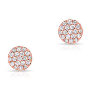 14KT Rose Gold Diamond Medium Disc Stud Earrings