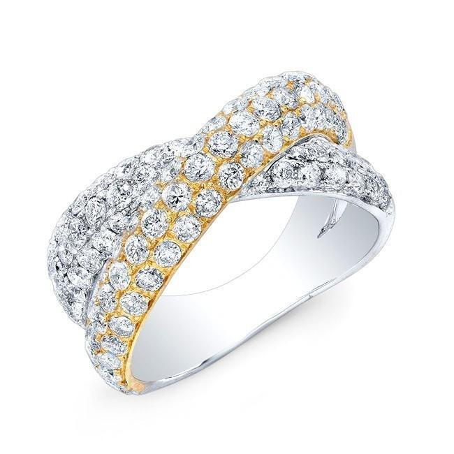 14KT Yellow And White Gold Diamond Twist Ring