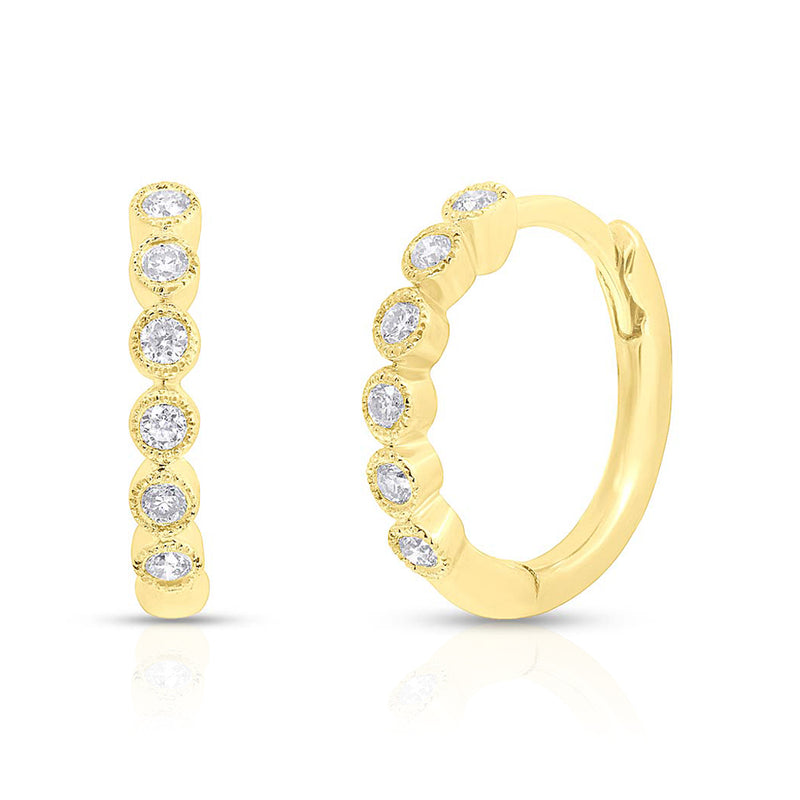 14KT Yellow Gold Diamond Hazel Bezel Huggie Earrings