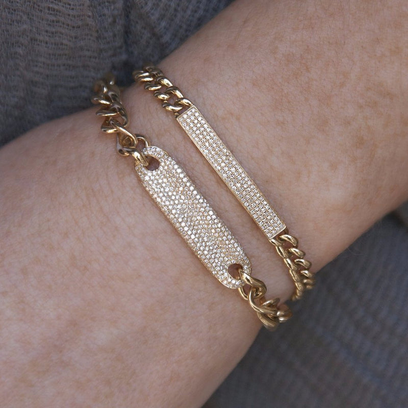 14KT Yellow Gold Diamond Thick Chain ID Bracelet