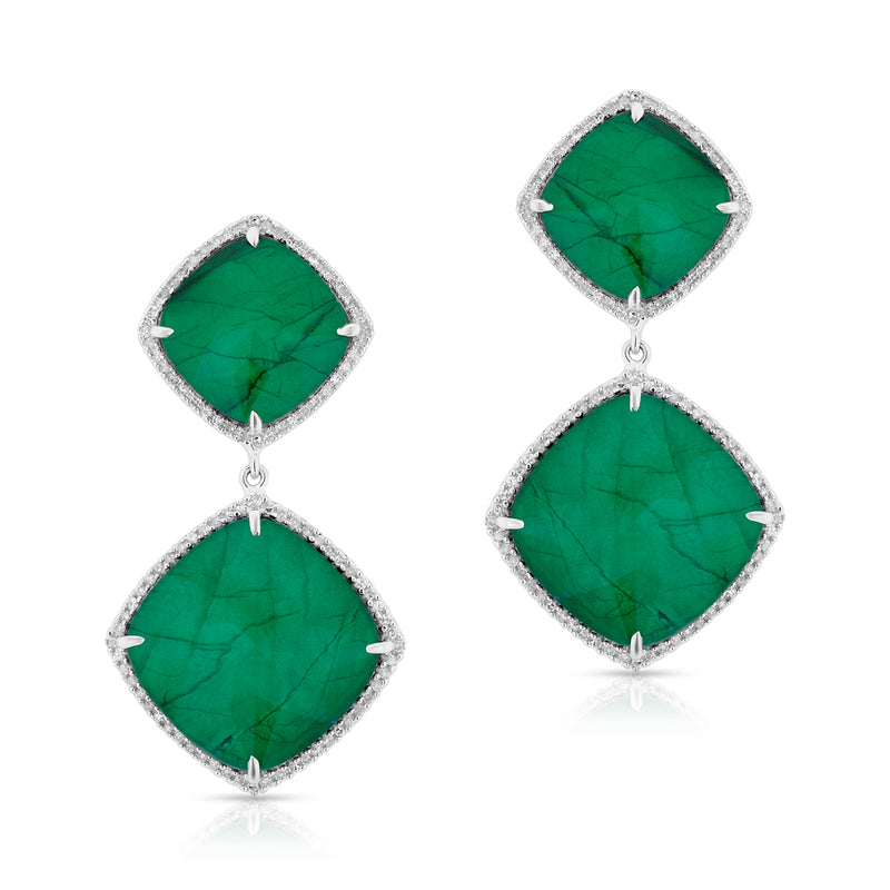 14KT White Gold Diamond Emerald Martine Earrings