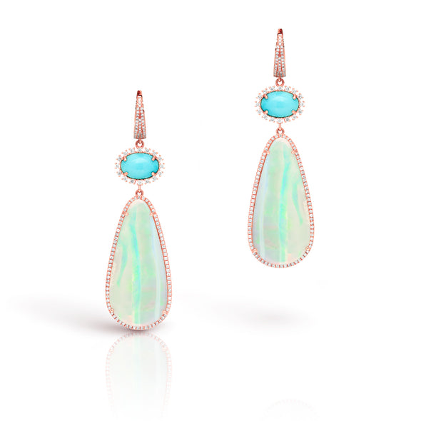 14KT Rose Gold Diamond Opal and Turquoise Earrings