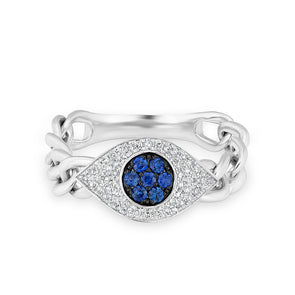 14KT White Gold Diamond Sapphire Evil Eye Chain Ring