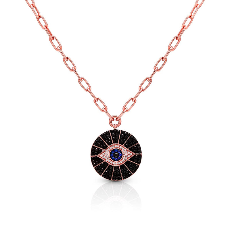 14KT Rose Gold Black and White Diamond Sapphire Evil Eye Chain Necklace