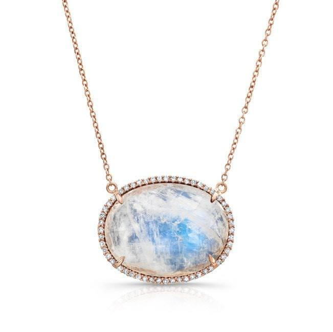14KT Rose Gold Diamond Oval Moonstone Necklace