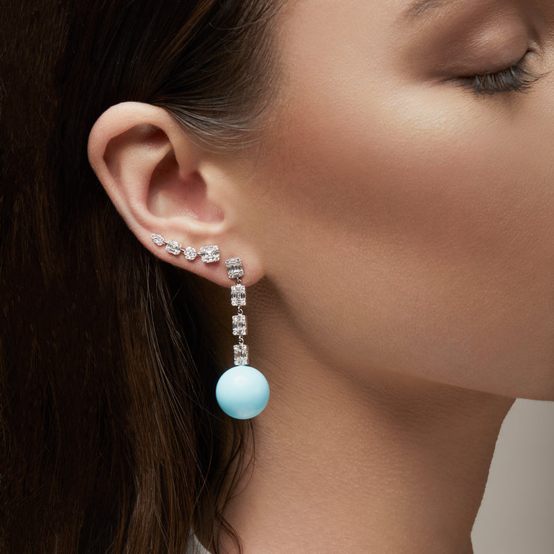 14KT White Gold Baguette Diamond Turquoise Gumball Drop Earrings-Anne Sisteron
