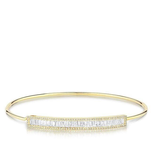 14KT Yellow Gold Diamond Baguette Latch Bracelet