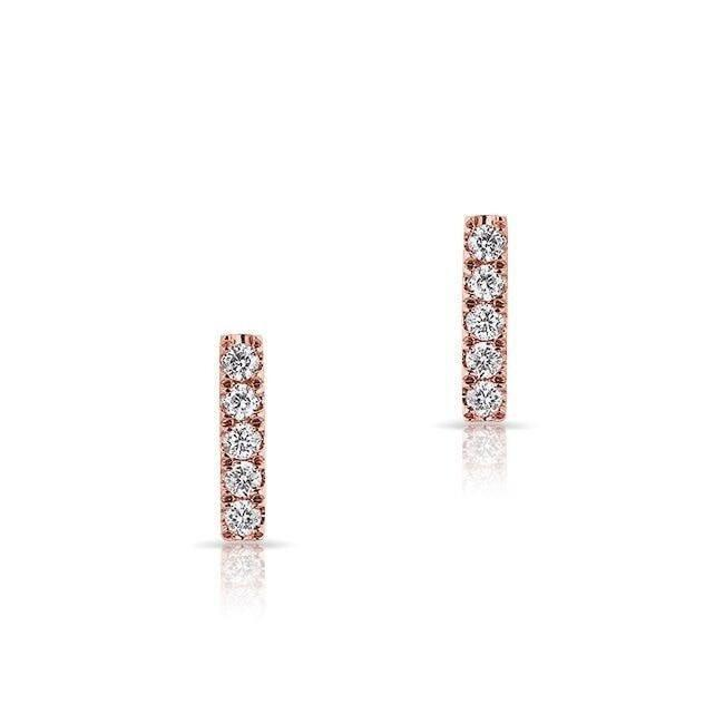 14KT Rose Gold Diamond Mini Bar Stud Earrings