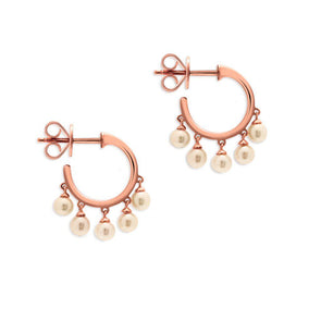 14KT Rose Gold Dangling Pearl Mini Hoop Earrings