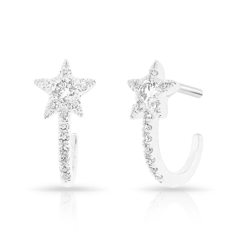 14KT White Gold Diamond Curved Star Huggie Earrings