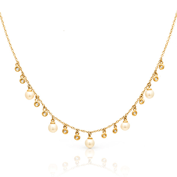 14KT Yellow Gold Bezel Diamond and Pearl Trickle Necklace