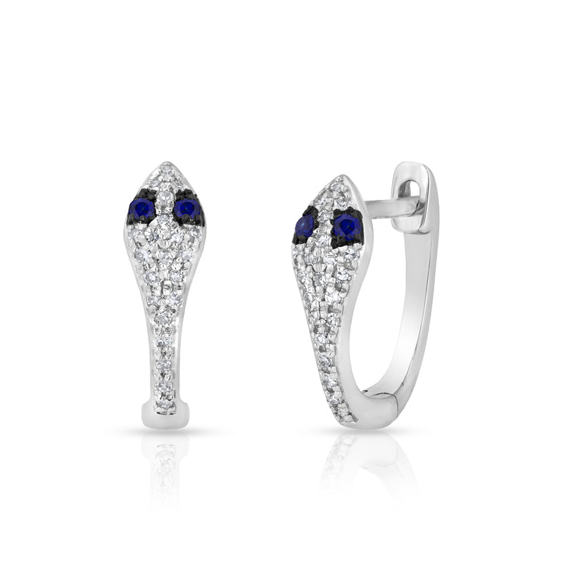 14KT White Gold Diamond Blue Sapphire Snake Huggie Earrings