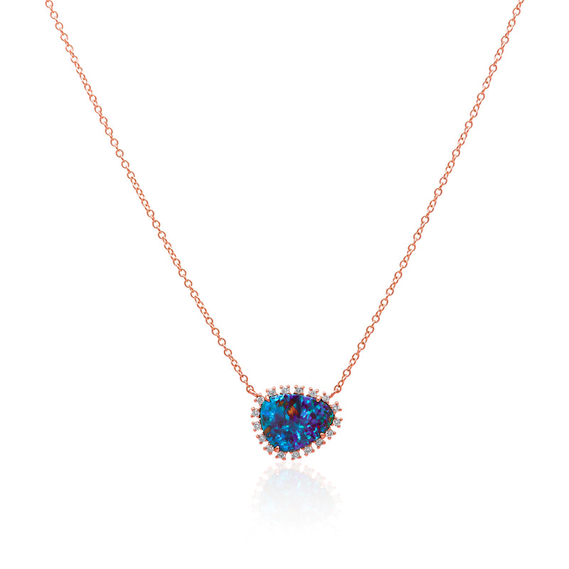 14KT Rose Gold Opal Diamond Luxe Jasmine Necklace