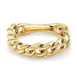 14KT Yellow Gold Thin Chain Link Ring