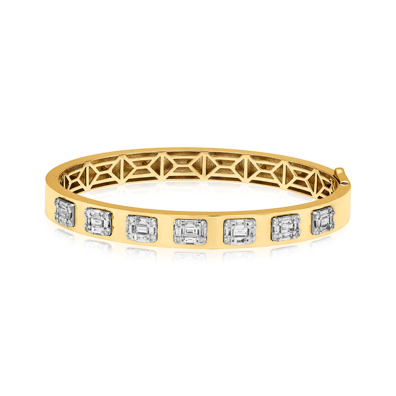18KT Yellow Gold Baguette Diamond Gemma Bangle Bracelet