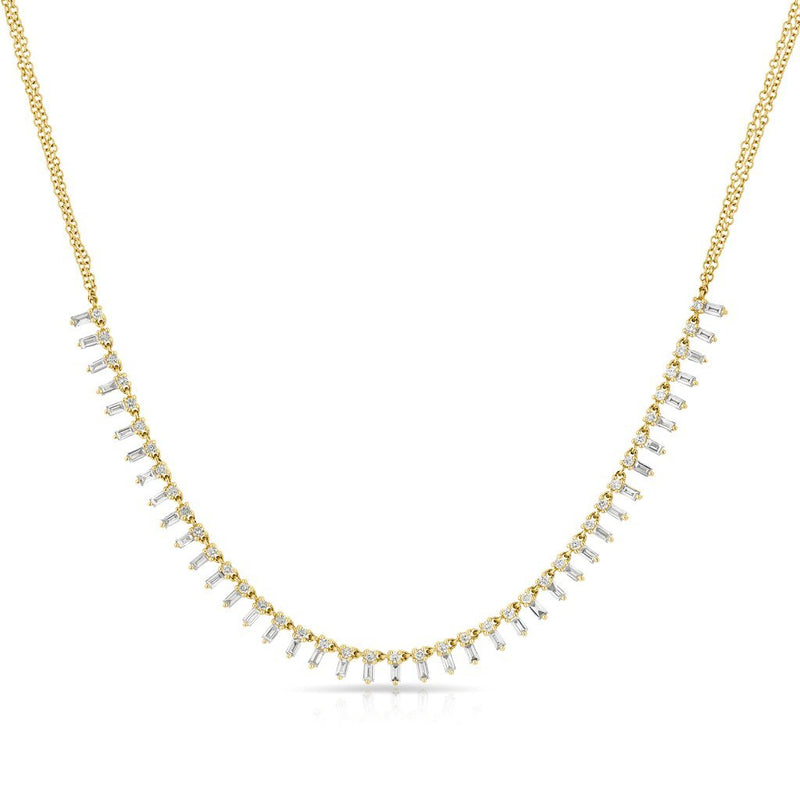 14KT Yellow Gold Baguette Diamond Queen Necklace
