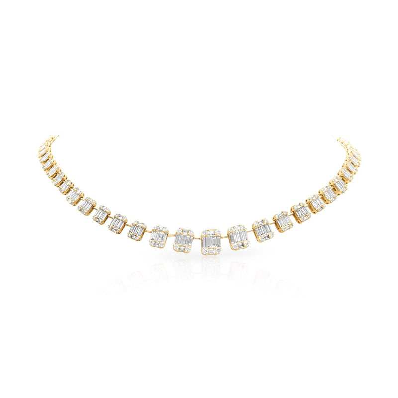14KT Yellow Gold Baguette Diamond Astor Necklace