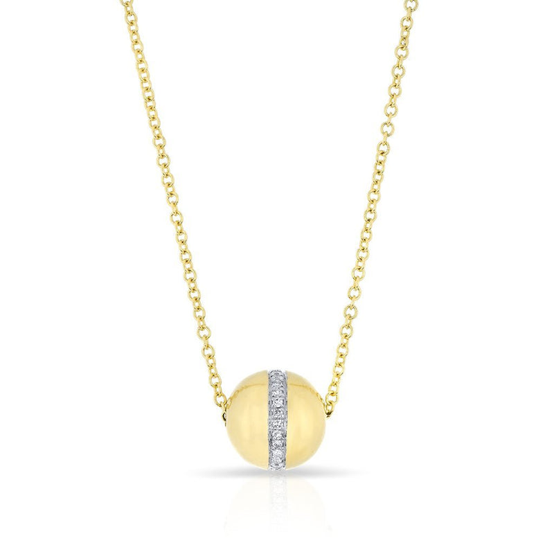 14KT Yellow Gold Diamond Golden Globe Necklace