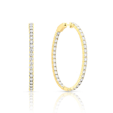 14KT Yellow Gold Diamond Oval Bella Hoop Earrings