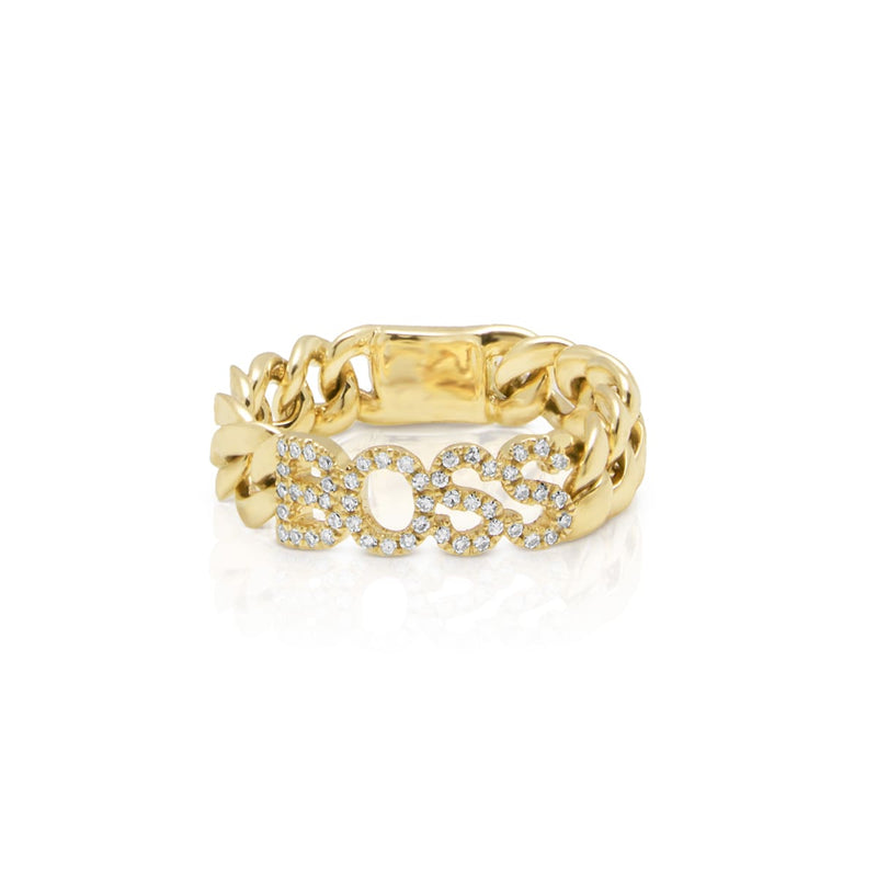 14KT Yellow Gold Diamond Boss Chain Link Ring