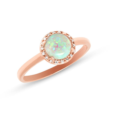 14KT Rose Gold White Opal Diamond Solitaire Ring