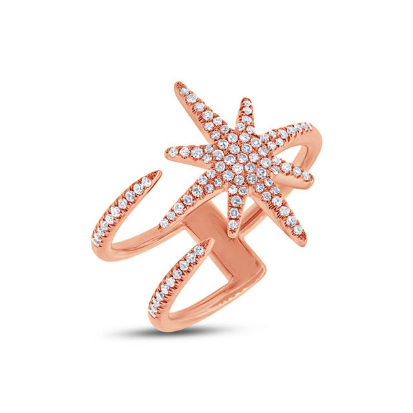 14KT Rose Gold Diamond Star Wrap Ring