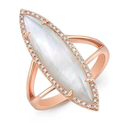 14KT Rose Gold Diamond Mother of Pearl Small Celeste Ring