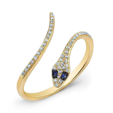 14KT Yellow Gold Diamond Slytherin Ring with Blue Sapphire Eyes