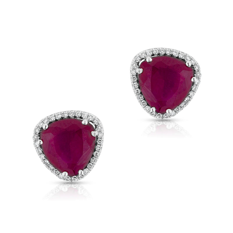 14KT White Gold Rounded Triangle Ruby Diamond Earrings