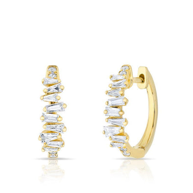 14KT Yellow Gold Baguette Diamond Kate Huggie Earrings