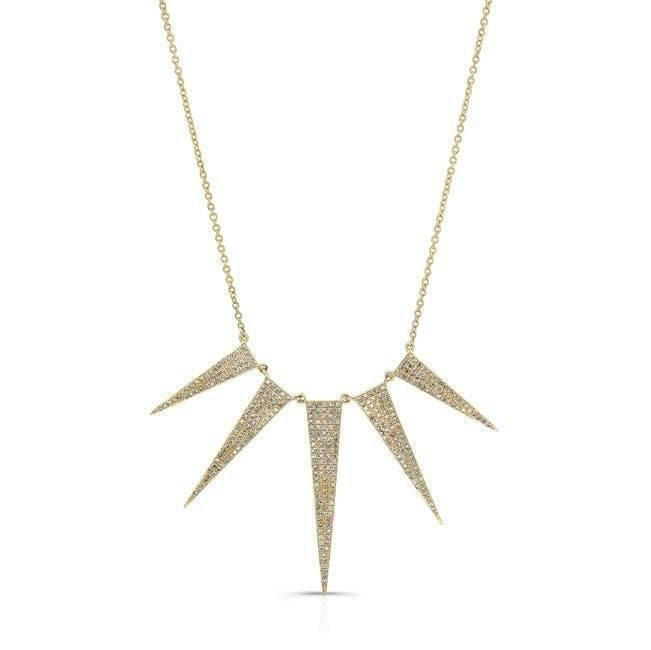 14KT Yellow Gold Diamond 5 Spike Necklace