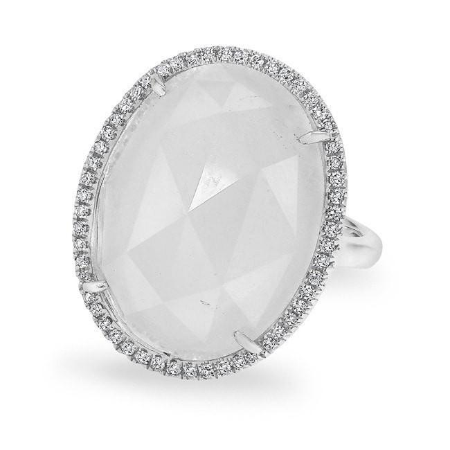 14KT White Gold Moonstone Diamond Oval Cocktail Ring