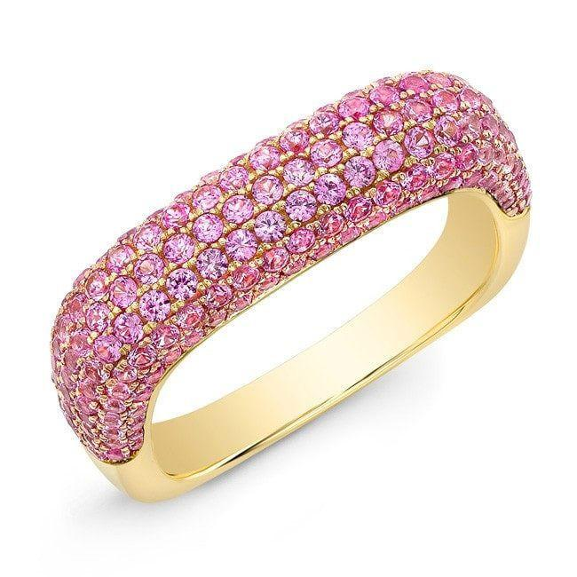 14KT Yellow Gold Pink Sapphire Square Ring
