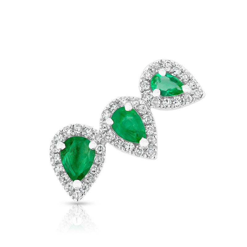 14KT White Gold Diamond Emerald Valis Ear Climber