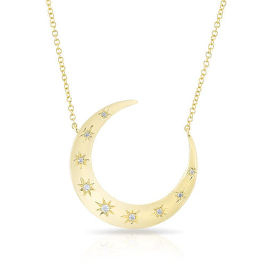 14KT Yellow Gold Diamond Starlight Moon Necklace