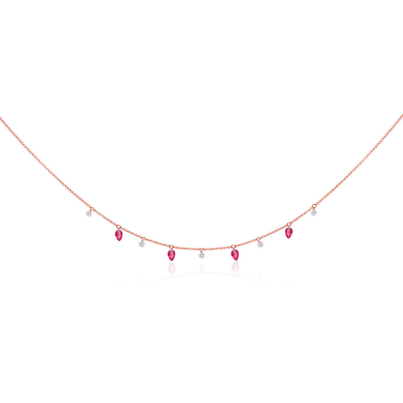 14KT Rose Gold Ruby Diamond Selene Necklace