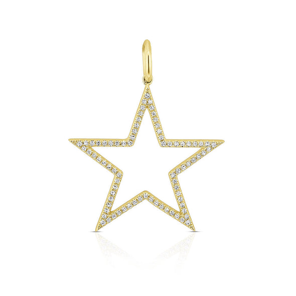 14KT Yellow Gold Diamond Large Open Star Charm Pendant