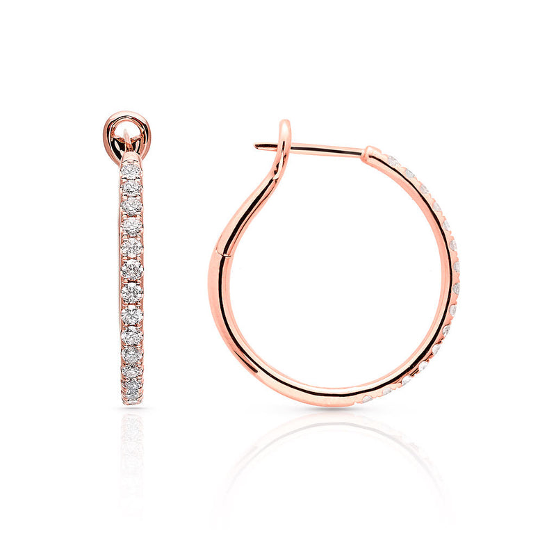 14KT Rose Gold Diamond Kaia Hoop Earrings