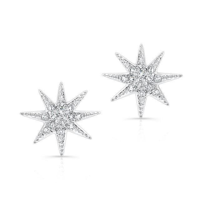 14KT White Gold Diamond Glimmer Star Stud Earrings